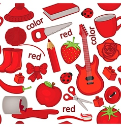 seamless pattern with red objects vector image