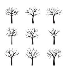 set black neked trees vector image