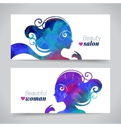 Set of banners with acrylic beautiful girl vector image