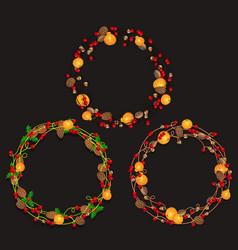 Set of christmas wreaths of garlands vector