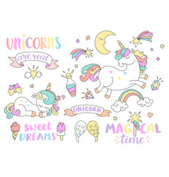 Set of unicorns and other fairy tales elements vector