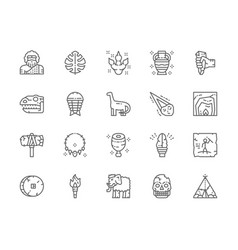 Set prehistoric age line icons neanderthal vector