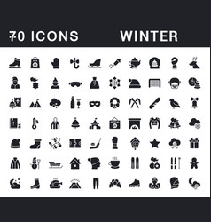 set simple icons winter vector image