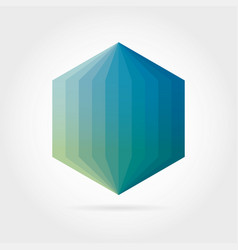 Smooth color gradient hexagon icon logo vector