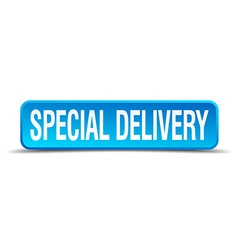 Special delivery blue 3d realistic square isolated vector image