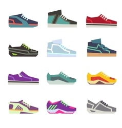 Sportwear shoes different footwear sport flat vector