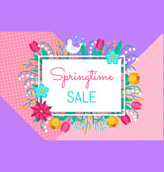 spring sale background banner with beauty fantasy vector image