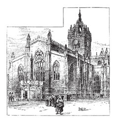 st giles cathedral edinburgh vintage vector image
