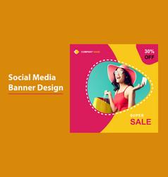 Super sale social media banner template design vector