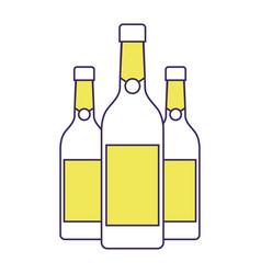 three champagne bottles drink beverage event vector image