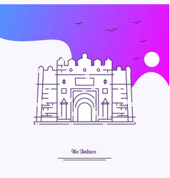 travel nis fortress poster template purple vector image