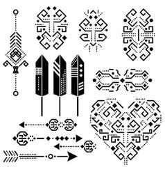 tribal aztec stencil elements vector image