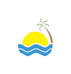 tropical summer beach logo design vacation with vector image