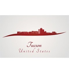 Tucson skyline in red vector