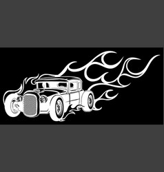 Vintage car hot rod in black background vector