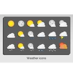Weather icons set flat design vector image