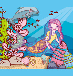 Woman mermaid with dolphin and stingray in the sea vector