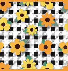 yellow flower on black plaid seamless pattern vector image