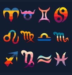 zodiac signs retro vector image