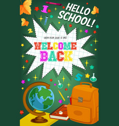 back to school welcome chalkboard poster vector image