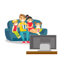 caucasian white family watching television at home vector image vector image