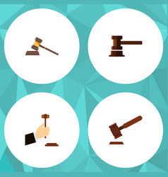 flat icon hammer set of justice court government vector image