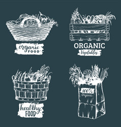 organic vegetables images set farm vector image vector image