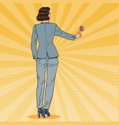 pop art business woman pressing red button vector image