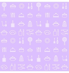 Seamless line kitchen icons background vector image