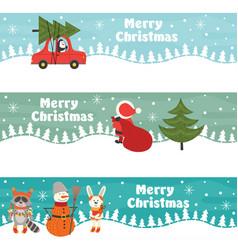 set of horizontal christmas banners vector image