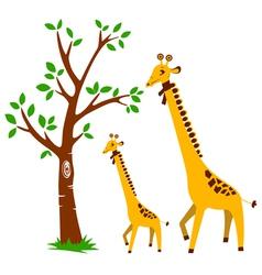 Tree and Giraffe vector image vector image
