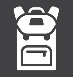 Backpack solid icon education and school vector