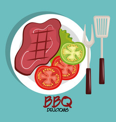 delicious meat beef bbq menu vector image
