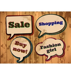 Vintage shopping themed speech bubbles vector image