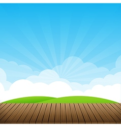 Brown wood floor with green field and blue sky vector image vector image