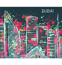 dubai cityscape with abstract watercolor splashes vector image vector image