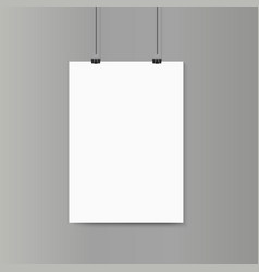Empty vertical white paper poster mockup on grey vector image vector image