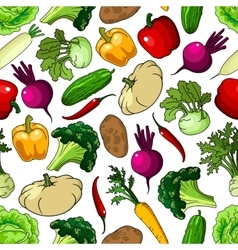 Fresh picked vegetables seamless pattern vector image vector image