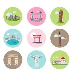 National landmarks set in flat vector