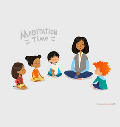 preschool female teacher and smiling kids sitting vector image vector image
