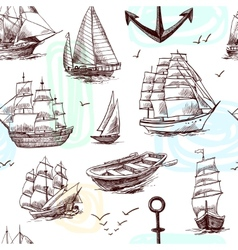 Ships and boats sketch seamless pattern vector image vector image