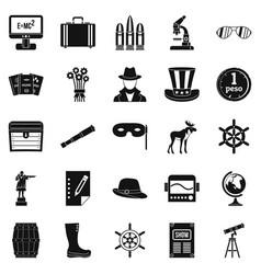 binoculars icons set simple style vector image vector image