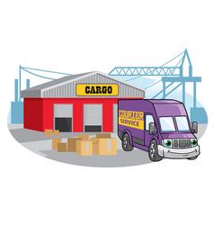 cargo van at the port vector image vector image
