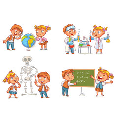 children in the lesson vector image