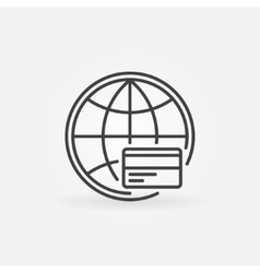 Global payment line icon vector image
