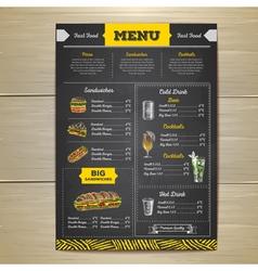 Vintage chalk drawing fast food menu design vector image vector image