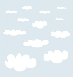 White clouds on blue sky background collection vector image vector image