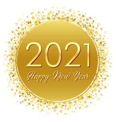 2021 golden round label with glitter confetti vector