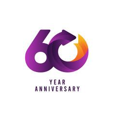 60 years anniversary gradient purple template vector