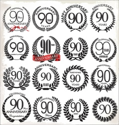 90 years anniversary laurel wreaths vector image